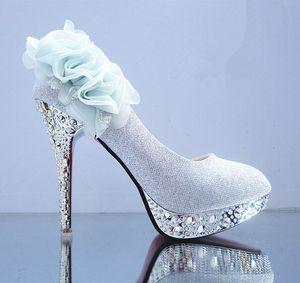 Yeddamavis النساء الأحذية الفضة الزفاف بريق رائع الزفاف الكريستال الأحمر أسفل الكعب عالية المرأة مضخات اللباس