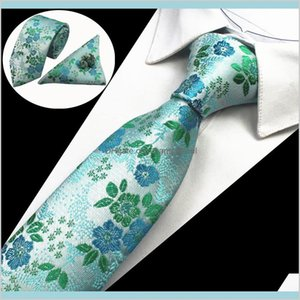 Men Tie Floral 100% Silk Jacquard Woven Necktie Hanky Tie Set For Men Formal Wedding Party Qa2Ui Eb0Ni