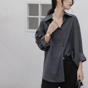 Freddo vento retrò texture saccante maglietta grigia da donna allentate maniche lunghe pigri primavera e cappotto autunno cappotto di autunno hong kong - camicette da donna con camicie da donna