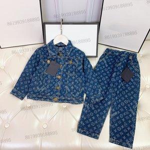 luxury kids jeans jacket +trousers sets childrens autumn long sleeve tracksuit clothing set girls winter coat
