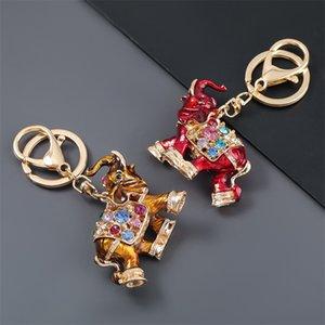 Hot Selling colorful Rhinestone Elephant Keychain Car Key Holder Drop Women Bag Ornaments Pendant Small Gift 17 Q2