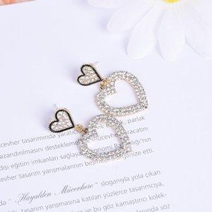 Bohemian Fashion Style Girl Heart-shaped Geometric Earrings Metal Pearl Party Wedding Gift Stud