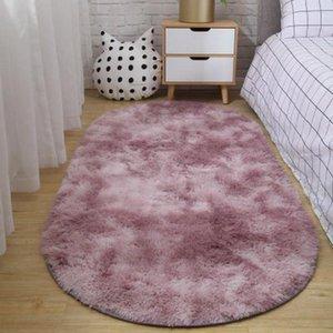 Carpets Oval Bedside Carpet Gradient Colorful Long Plush Soft Rug Fur Floor Mat Hanging Basket Blanket For Living Room Bedroom