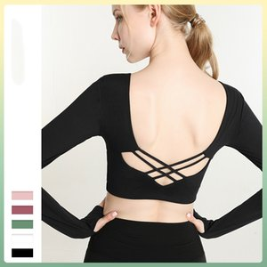 luyogasports lu tops lu yoga running sport long sleeve shirts yoga suit with chest pad women's short tight gym fitness hollow
