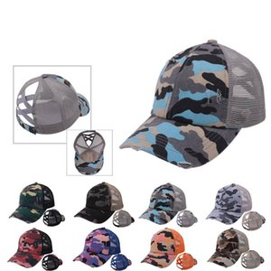 Camouflage Ponytail Baseball Caps Criss Cross Washed Ball Caps Fashion Camouflage High Messy Party Hats Supply 8styles 543 V2