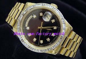 Orologi di lusso di alta qualità orologio da polso in oro giallo 18k Orologio di diamanti nero con castone 18038 Orologio da uomo automatico da uomo con cassa da 36 mm