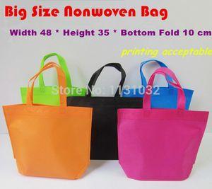 All'ingrosso-48 * 35 * 10 centimetri grande formato di buona qualità 5 colori pianura tinta ultrasuoni non tessuti sacchetti non tessuti Shopping Bags