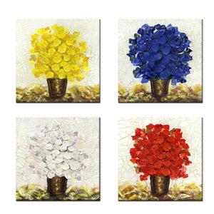 의 giclee 작품 꽃 회화 인쇄 벽 예술 홈 장식 회화 4 개 패널 네 가지 색 꽃 캔버스 (나무 액자)