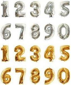 4 PCS 16 Pouce Argent / Or 2014 Numérique 0-9 Figure Nombre Ballons Feuille Ballon Pour Le Mariage D'anniversaire Partie Décorative
