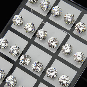 Fashion 24pcs 8mm Clear Austria Cubic Zirconia Stainless Steel Stud Earrings for Womens Mens Wholesale Jewelry Lots A-645
