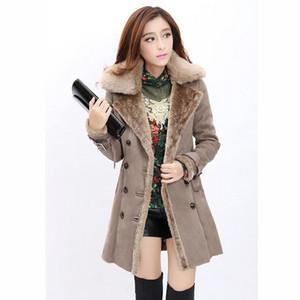Chaqueta de lana de invierno para mujer Abrigos 2015 Nueva moda para mujer Abrigos de invierno de piel sintética Largo cuello de solapa Tallas grandes Abrigos de piel gruesa para mujeres