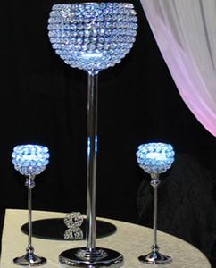 طويل القامة الزفاف غلوب الكريستال الشمعدان المركزية ، حامل شمعة لعرس محور الجدول ، الجملة الزفاف الشمعدانات
