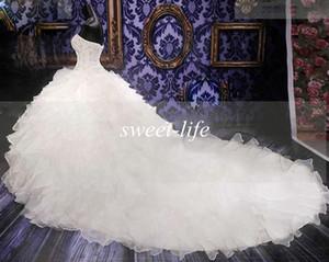 Lxxury Crystals Свадебные платья 2019 белые милая бусы сексуальный винтаж корсет из органзы собор поезд плюс размер бальные платья