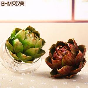 Simulação de fruta verde suculentas plástico lidar com carne planta bromélia flor decoração alcachofra Nordic Artesanato Americano