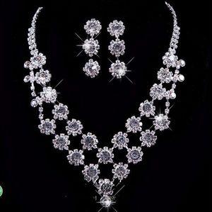 Fashion New Full Mrden Holy Wedding party Rhinestone & Crystal Necklace bracelet earring jewelry set Birdal Jewelry