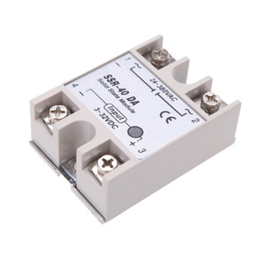 Wholesale-New Accessories 24V-380V 40A SSR-40 DA Solid State Relay Module for PID Temperature Controller 3-32V DC To AC Relays