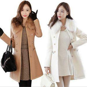 Женщина пальто верхняя одежда Зима 2015 корейских женщин толстые шерстяные пальто меховой воротник двубортный тонкий длинная шерсть тренч зимние пальто для женщин