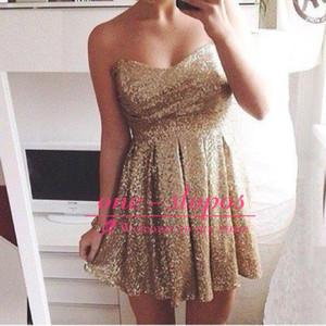 Querida lantejoulas de ouro mini vestido de coquetel frete grátis império a line curto graduação vestido de baile de formatura