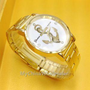 Оптовая наручные часы из нержавеющей Мода Золото Кристалл кварца Винтаж якорь шаблон дизайна Женева леди Женщины Роскошные наручные часы