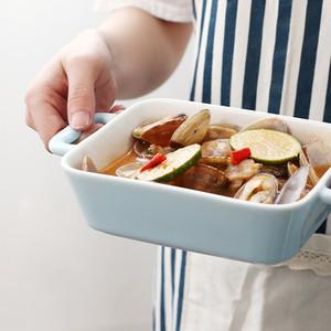 Plat rectangulaire cuisson en céramique avec double oreille au four Fromage profond Plat à gâteau Pâtes Pan Fish Casserole micro-ondes ustensiles de cuisson 18 oz