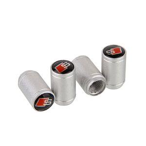 Válvula do pneu da roda de carro de alumínio Mixed Atacado Universal Prata Caps Stem 4pcs Air Poeira Capa Para Audi SLINE / set