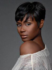 100% Human Hair New Fashion Black color Short Women's wigs Full wig