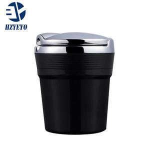 HZYEYO المحمولة دخان السيارات الوقوف كأس اسطوانة حامل منفضة سجائر مع الأزرق LED زينة السيارات، D-2070