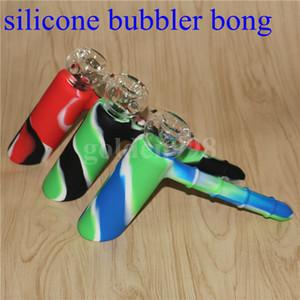 Narghill all'ingrosso Bong Recycler 19mm Bubblers Silicon Hammer Narghilè Insimabile con ciotola di vetro Skull Silicone Bubbler