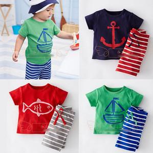 Vestiti del bambino Ragazzi Cartoon Striped Abiti casual 2pcs Set di barche a vela T-shirt + Pantaloni ragazzi abiti tute Abbigliamento per bambini 3 colori RK76338