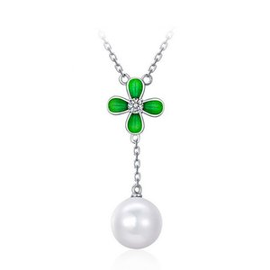 Clover Pearl Pendant Necklace For Women Best Gift High Grade Alloy Fashion Necklace Pearl Jewelry GD5013