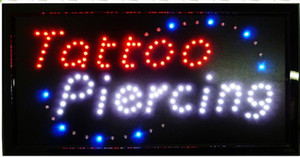 LED Neon sign 25cmx48cm LED light sign 10x19 inches LED Tattoo Piercing SIGN BIlLLBOARD semi-outdoor