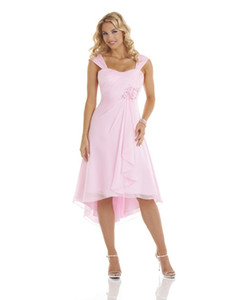 2016 New Cheap Simple Pupolar Free Shippping Beautiful A-line Bateau Pink Chiffon Asymmetrical Bridesmaid Dress With Flower(BD0807)