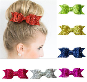 Baby Girls Clips Bow Glitter Barrettes enfants Bow avec pinces crocodile cheveux brillants bowknot Hairpins nourrissons Enfants Cheveux Accessorie A08