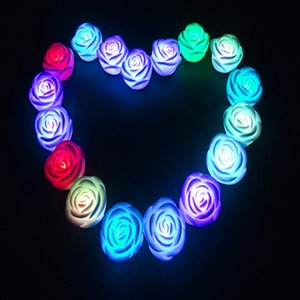 Colorful flashlight Fiber Rose Nightlight led christmas gift lights Xmas Decor wholesale romantic Wedding Room Party Decoration Wall Lights