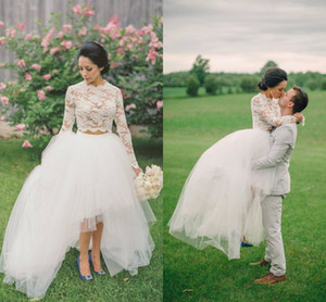 Two Pieces Wedding Dresses 2016 Long Sleeves Lace Crop Top Appliques Tulle Wedding Gowns Hi-Lo Beach Simple Romance Bridal Dresses