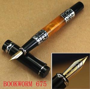 Hot Sell-BOOKWORM 675 silberne Blume Bernstein Zelluloid Füllfederhalter Briefpapier Schreibtintenstift