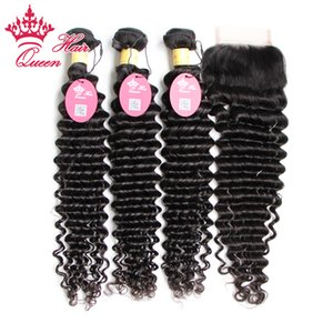 6A Peruvian Virgin Hair 4Pcs lot Deep Wave,Unprocessed 100% Peruvian Virgin hair 3Pcs Hair Bundle + 1Pc Lace Closure, DHL Free Shipping