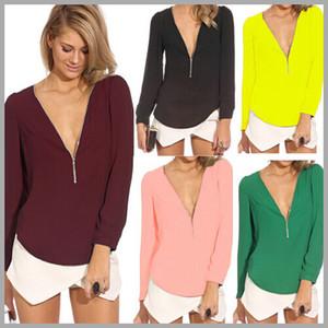 Moda Yaz Bluz ve Gömlek Bayan Üstleri Artı Boyutu Uzun Kollu Gevşek V Yaka Düz Renk Şifon Gömlek Vestidos Casual Bluzlar B54