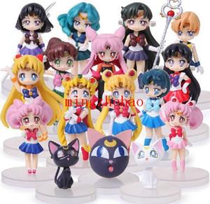 Nova Venda 16 pçs / set Anime Sailor Moon Figuras Tsukino Usagi Sailor Marte Mercúrio Jupiter Venus Saturno Figura Brinquedos PVC Boneca Com Caixa