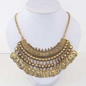 Colares pingente para mulheres Vintage exagerada liga esculpida borla moeda Collar colares moeda de prata antiga gargantilhas declaração colares