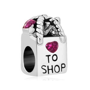 Vente en gros Rhodium Placage Antique Sac d'amour de coeur pour boutique pourpre perles de cristal Fit Pandora Bracelet à breloques