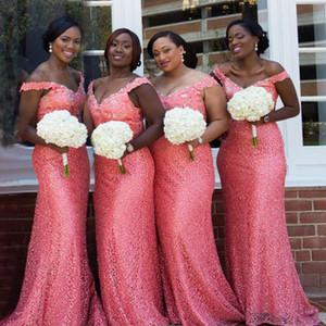 Kapalı omuz Mercan nedime elbisesi ile boncuklu sequins kristaller sapanlar dantel Mermaid İnce düğün törenlerinde V boyun kadın parti törenlerinde
