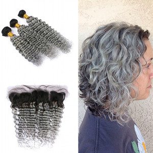 Dark Roots 1B Gray Deep Wave 3 Bundles con encaje Frontal Ombre Color gris Full Lace Frontal con brasileño Hair Weaft Weft