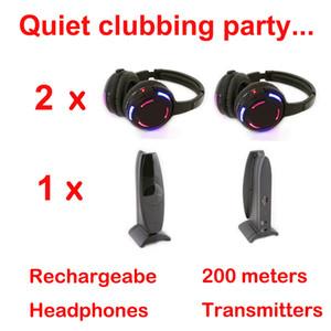 Professionelles kabelloses Silent Disco-System - leiser kabelloser Kopfhörer für DJ-Party-Bundle (2 Kopfhörer + 1 Sender)