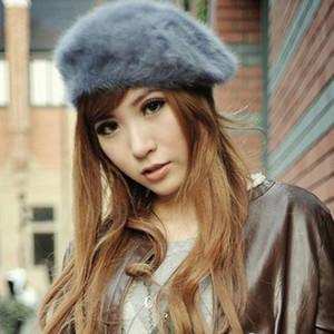Wholesale-Women's Elegant Multicolor  Fur Lapin Newsboy Beanie Hat Beret Fashion Accessories Retail/Wholesale 73OB