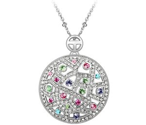 Большой Круглый Ожерелье, Украшенный Кристаллами Из Swarovski 18 К Позолоченные Ожерелья Подвески Для Женщин Старинные Ювелирные Изделия Бренда 3546