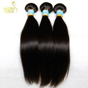 Russe Droite Vierge Cheveux 3 Pcs Non Transformés Russe Cheveux Humains Weave Bundles Naturel Noir Soyeux Droite Remy Cheveux Extensions Double Trame