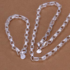 Yüksek dereceli 925 gümüş Big uzun kutu zincir parça takı DFMSS126 yepyeni Fabrikası 925 gümüş kolye bilezik doğrudan set