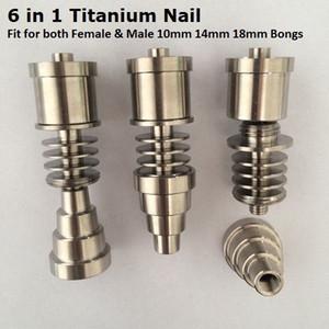 Gr2 G2 titane titane Ti clou 6 en 1 Fit pour les deux hommes femelle 10mm 14mm 18mm verre Bong tuyau d'eau pour électronique Dabber Nail Box Kit