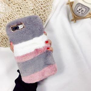 Pour iPhone édition X 8 Plus chaud lapin Fluffy coloré Villi fourrure en peluche dur PC Housse Etui pour iPhone 6 7